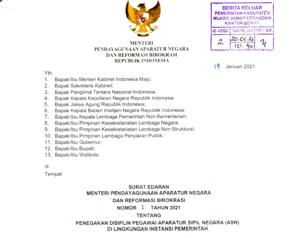 SURAT EDARAN (SE) MENPAN RB NO 1 TAHUN 2021